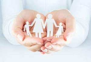 hands woman expresses the concept of family